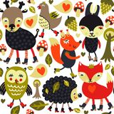 Seamless pattern with woodland animals and birds vector illustration