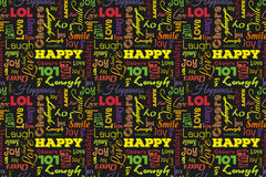 Colorful seamless pattern with words: happy, joy, laugh, smile, happiness, love, fun, cheers. Vector. Black background. Stock Image