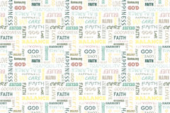Colorful seamless pattern with words: love, peace, balance, happiness, faith, God, belief, care, goodness, tranquility, harmony. V. Colorful seamless pattern Stock Photos