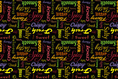 Colorful seamless pattern with writings: delicious, tasty, crispy, crunchy, bitter, sour, sweet, salty, yummy, fresh Stock Image