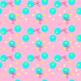 Colorful seamless pattern of yellow stars, light blue circles, and dark pink ribbon on pink background. Vector illustration, EPS 1 Stock Illustration