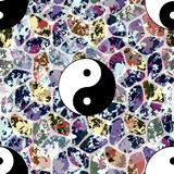 Colorful seamless pattern with Yin and Yang symbol. Colorful seamless pattern, asian backdrop Royalty Free Stock Images