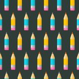 Colorful seamless patterns on the theme of education, school, au. Colored pencils on black background. Colorful seamless patterns on the theme of education stock illustration