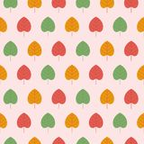 Colorful seamless patterns on the theme of education, school, au. Different autumn leaves, yellow orange, red, green. Colorful seamless patterns on the theme of Stock Photography