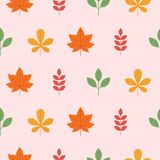 Colorful seamless patterns on the theme of education, school, au. Different autumn leaves, yellow orange, red, green. Colorful seamless patterns on the theme of Royalty Free Stock Photo