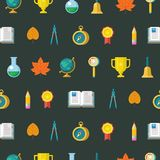 Colorful seamless patterns on the theme of education, school, au. School supplies. Globe, open book, pencil, gold Cup, compass, compass. Design elements on a stock illustration