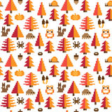 Colorful Seamless Pixel Pattern with Autumn Elements. In a cute forest Royalty Free Stock Photography
