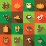 Colorful Seamless Pixel Pattern with Autumn Elements. In flat design style Stock Photography