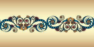 Colorful seamless ribbon on the gold background. Royalty Free Stock Photo