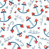 Colorful seamless sea pattern with anchors Royalty Free Stock Image