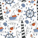 Colorful seamless sea pattern with boats and anchors Stock Image