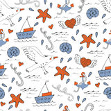 Colorful seamless sea pattern with boats seagulls shells and starfishes Royalty Free Stock Photos