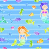 Colorful seamless sea pattern for children with mermaid and fishes. Colorful cartoon seamless sea pattern for children with mermaid and fishes Stock Image
