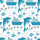 Colorful seamless sea pattern with dolphins Stock Image