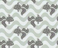 Colorful seamless sea pattern with fish Stock Images