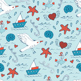 Colorful seamless sea pattern with seagulls shells Royalty Free Stock Photography