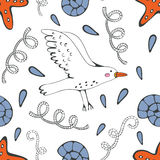 Colorful seamless sea pattern with seagulls shells and starfishes Royalty Free Stock Photos