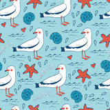 Colorful seamless sea pattern with seagulls shells Royalty Free Stock Image
