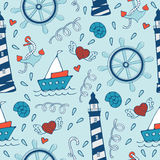 Colorful seamless sea pattern with steering wheels Royalty Free Stock Photography