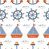 Colorful seamless sea pattern withboats stearing wheels and anchors. Illustration in vector format Stock Photos