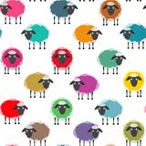 Colorful Seamless Sheep Pattern Stock Image