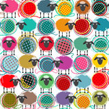Colorful Seamless Sheep and Yarn Balls Pattern Royalty Free Stock Images