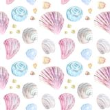 Colorful seamless shell pattern stock illustration