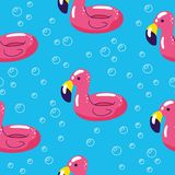 Colorful seamless summer pattern with hand drawn beach elements. Summer pool floating with flamingo. Seamless pattern vector illustration