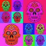 Colorful Skull Seamless Pattern stock image
