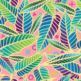Colorful Seamless tropical pattern with leaves. Simple geometric abstract texture Design for textile, decor, print