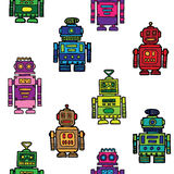 Seamless vintage toy robots pattern. Colorful seamless vintage toy robots pattern Royalty Free Stock Images