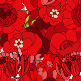 Colorful seamless wallpapers. With a lot of red flowers Royalty Free Stock Photo