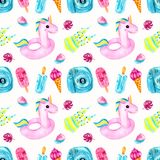 Watercolor seamless pattern with ice cream on a black royalty free illustration