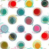 Colorful Seamless Yarn Balls Pattern Stock Photography