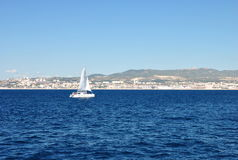 Colorful seascape on a clear sunny day: blue waters of the Mediterranean Sea Stock Photo