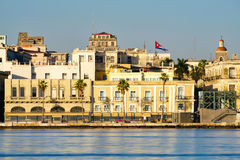 Colorful seaside buildings in Old Havana. Illuminated at dawn Royalty Free Stock Photo