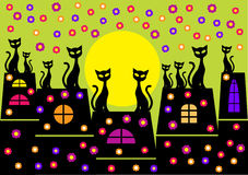 Spring illustration with cats silhouettes Stock Photo