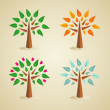 Colorful seasonal tree set Stock Images