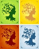 Colorful seasonal women's profiles Stock Images