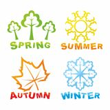 Colorful seasons icons Stock Photography