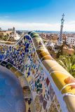 Colorful Seat - Park Guell, Barcelona, Catalonia, Spain. Colorful Seat And View Of tHe City - Park Guell, Barcelona, Catalonia, Spain, Europe Royalty Free Stock Photography