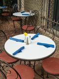 Outdoor dining in Arizona. Colorful seating, outdoor cafe in Tlaquepaque Arts and Crafts Village in Sedona Royalty Free Stock Image