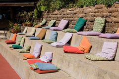 Colorful seating. Colorful pillows for event seating stock photo