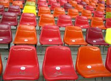 colorful-seats-in-a-stadium Stock Photo