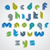 Colorful sectored font with diagonal repartition. Typescript Royalty Free Stock Photos