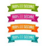 Colorful 100% secure ribbons. Eps10 Vector. Firewall secure badges for wensite and computer Royalty Free Stock Image