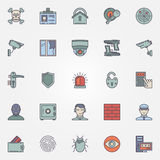 Colorful security icons Stock Photography