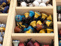 Colorful selection of DIY cabinets parts knobs Royalty Free Stock Photos