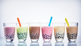 Colorful selection of fruit flavored bubble tea stock photos