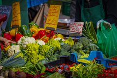 Colorful selection of vegetables on the farmers market in Mainz.  Stock Photos